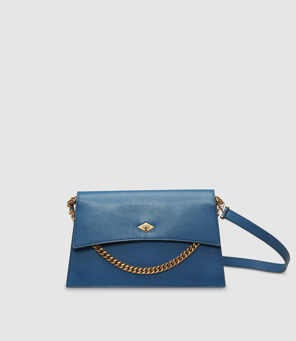 Roma Shoulder Bag Smooth Calfskin Riviera Blue