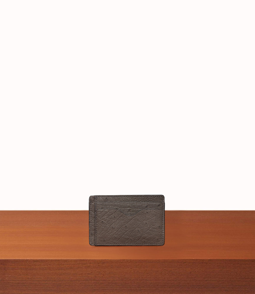 Thin Card Case Ostrich Caviar Grey