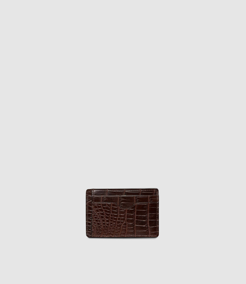 Thin Card Case Crocodile Maduro