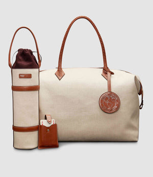 Perriand Weekend Bag, Deck of Cards Case, Luggage Tag and Wine Holder Natural Linen and Buffalo Cognac