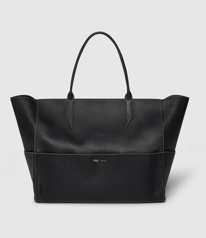 Incognito Large Cabas Bag Smooth Calfskin Black With Salt Stitching