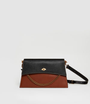 Roma Shoulder Bag Buffalo Black Cognac