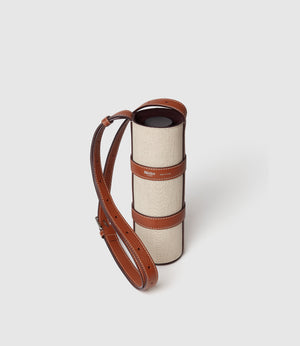 Water Bottle Holder Natural Linen with Cognac