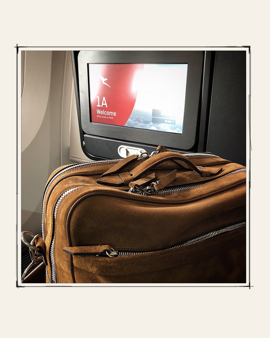 """I chose the Wanderer Messenger in Suede Marrakech as my perfect travel companion for the inaugural Qantas flight London to Perth non-stop March 25th 2018."" - Simon Leadsford, Publishing Director, Conde Nast Traveller"