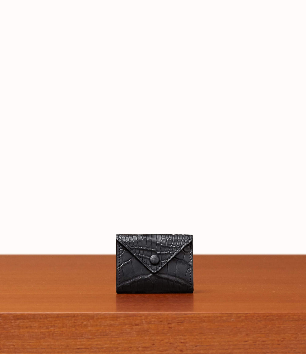 Coin Purse Crocodile Black