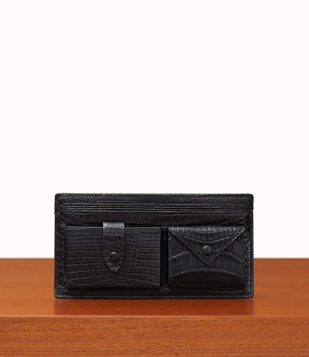 Inside Out Wallet Crocodile Black