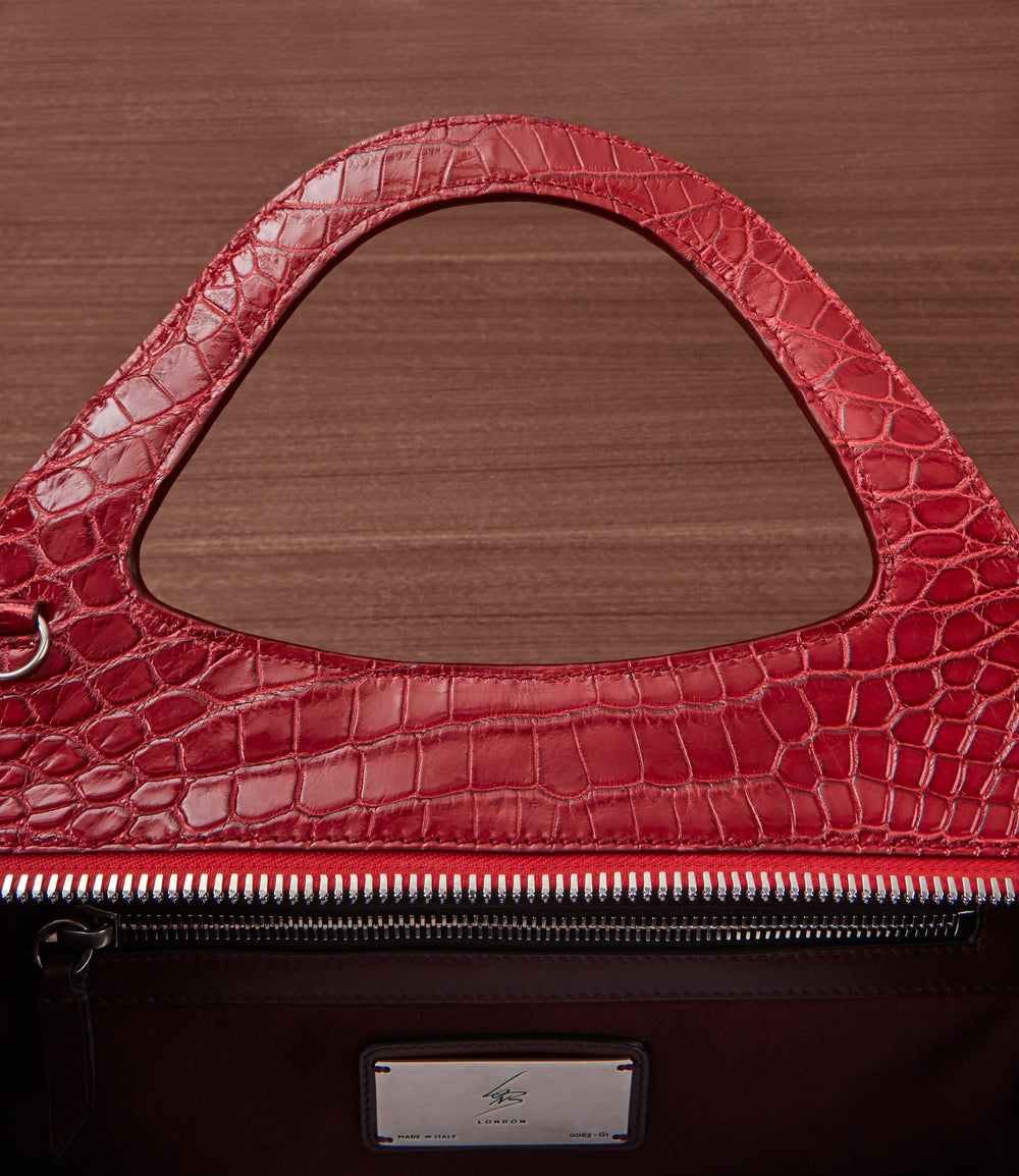 L'Avenue Bag with Shoulder Strap Crocodile Classic Red