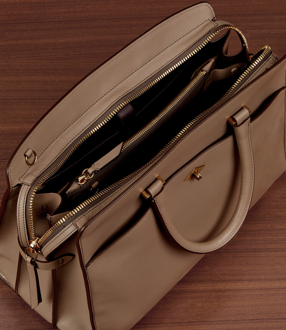 Private Eye Bag with Shoulder Strap Smooth Calfskin Sand