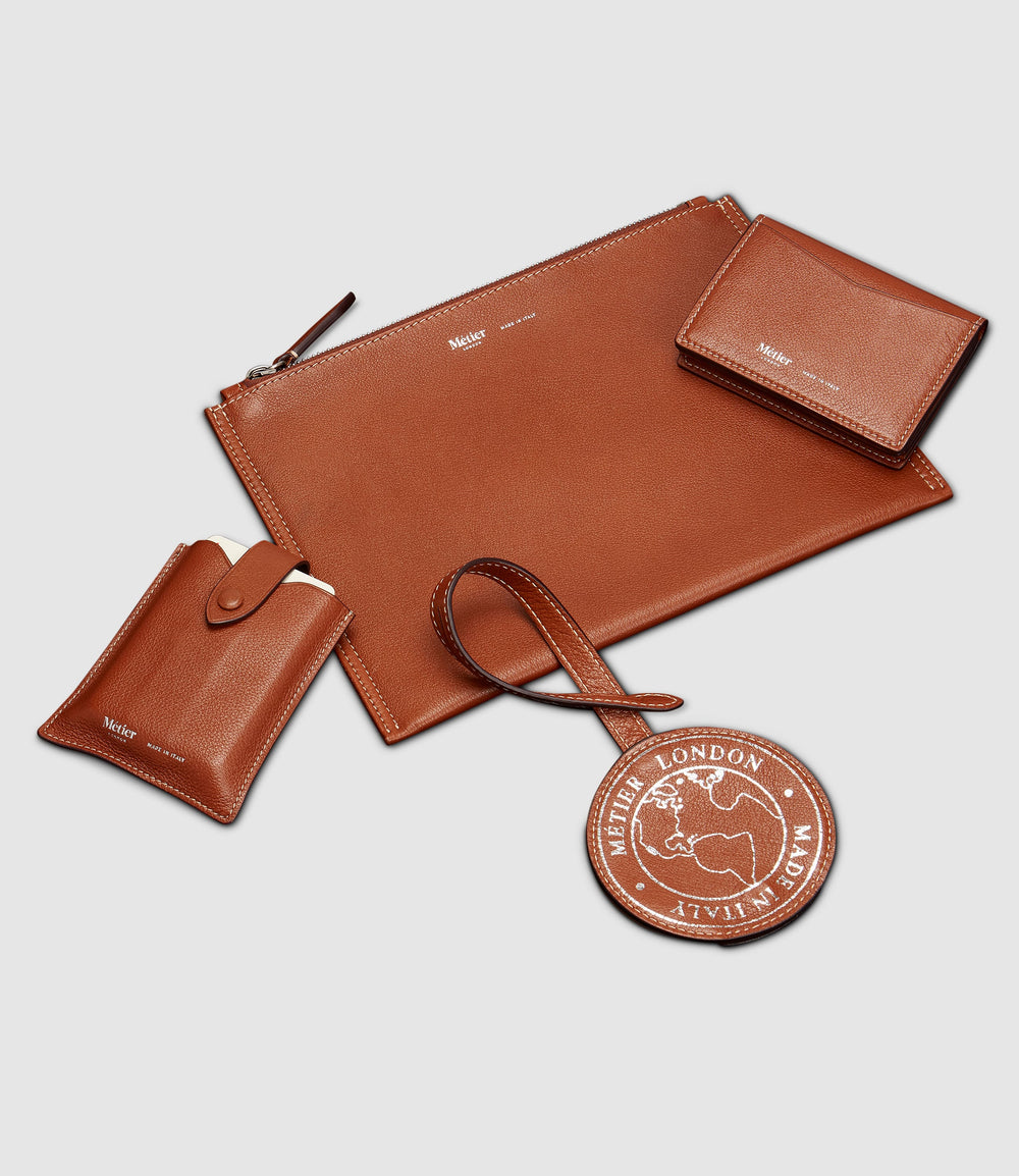 Deck of Cards Case, Luggage Tag, Small Flat Pouch and Multi Card Case Buffalo Cognac