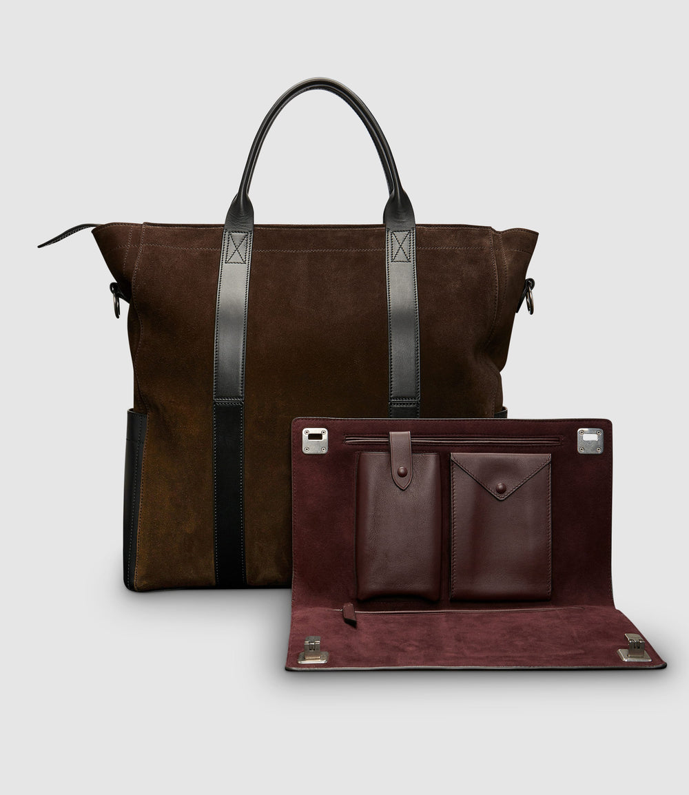 Mariner Zippered Tote and Runaway I Essentials Portfolio Suede Chocolate