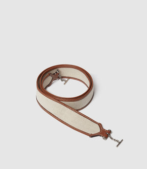 Customization Shoulder Strap Natural Linen with Cognac