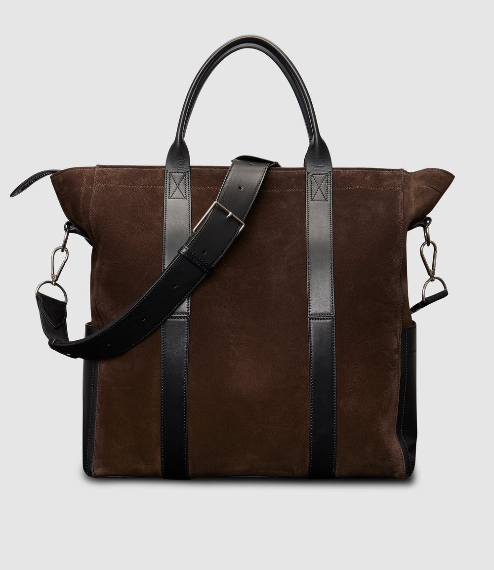 Mariner Zippered Tote Bag in Suede Chocolate