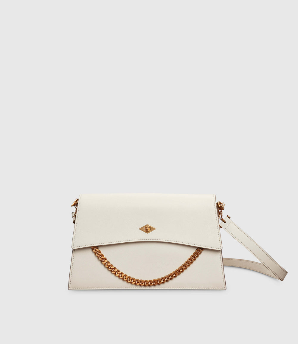Roma Small Shoulder Bag Smooth Calfskin White Sand