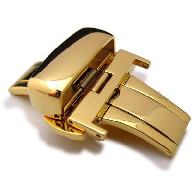 20mm, 22mm, 24mm Deployment Buckle / Clasp, Gold Plated Stainless Steel for Leather Strap - Taikonaut