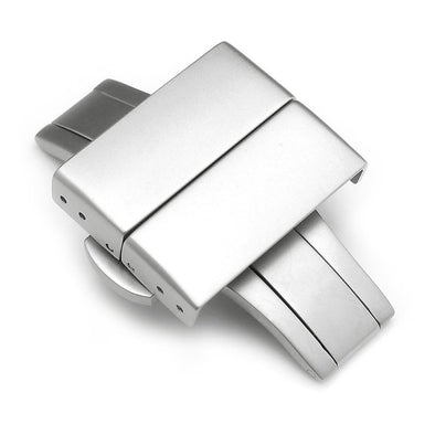 20mm, 22mm Deployment Buckle / Clasp, Sandblast Stainless Steel with Release Button - Taikonaut