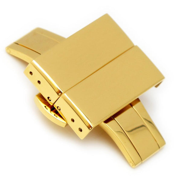 20mm, 22mm, 24mm Deployment Buckle / Clasp, IP Gold Stainless Steel with Release Button - Taikonaut