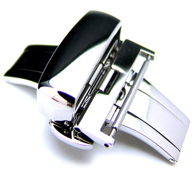 20mm, 22mm, 24mm Deployment Buckle / Clasp, Polished Stainless Steel for Leather Strap - Taikonaut