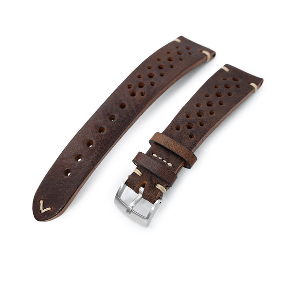German made 20mm Rally Racing Brown Shrunken Cowhide Watch Band, Brushed