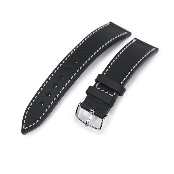 German made 20mm Matte Black Geniune Calf Watch Band, Polished