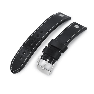 German made 22mm Sturdy Semi-gloss Black Saddle Leather with Rivet Watch Band, Brushed