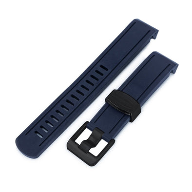 20mm Crafter Blue - Navy Blue Rubber Curved Lug Watch Band for Seiko Sumo SBDC001, PVD Black Buckle
