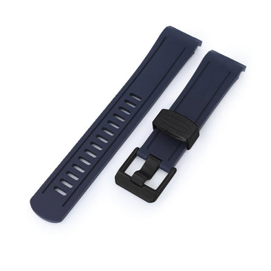 22mm Crafter Blue - Navy Blue Rubber Curved Lug Watch Band for Seiko Shogun SBDC007, PVD Black Buckle