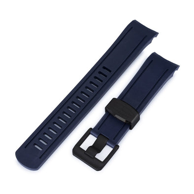 22mm Crafter Blue - Navy Blue Rubber Curved Lug Watch Band for Seiko SKX007, PVD Black Buckle