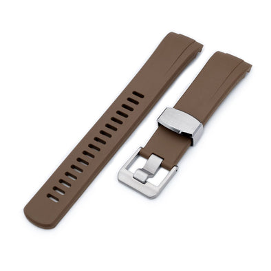 Seiko Turtle Crafter Blue Brown Curved End Rubber Straps | Strapcode