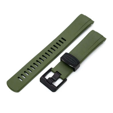 Seiko Turtle Crafter Blue Green PVD Buckle Rubber Straps | Strapcode