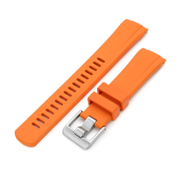Seiko Turtle Crafter Blue Orange Curved End Rubber Straps | Strapcode