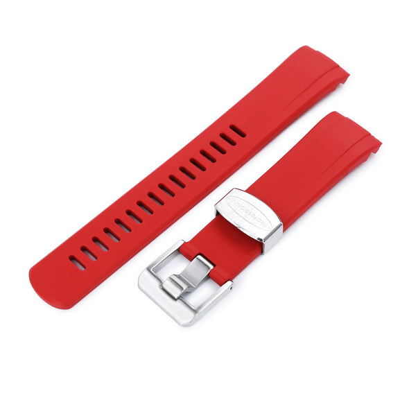 Seiko Turtle Crafter Blue Red Curved End Rubber Straps | Strapcode