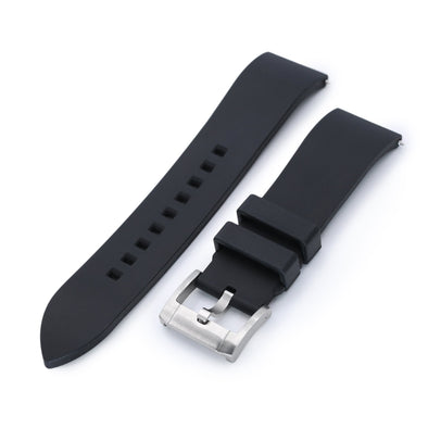 22mm Straight End Black FKM Rubber Quick Release Watch Band |Strapcode