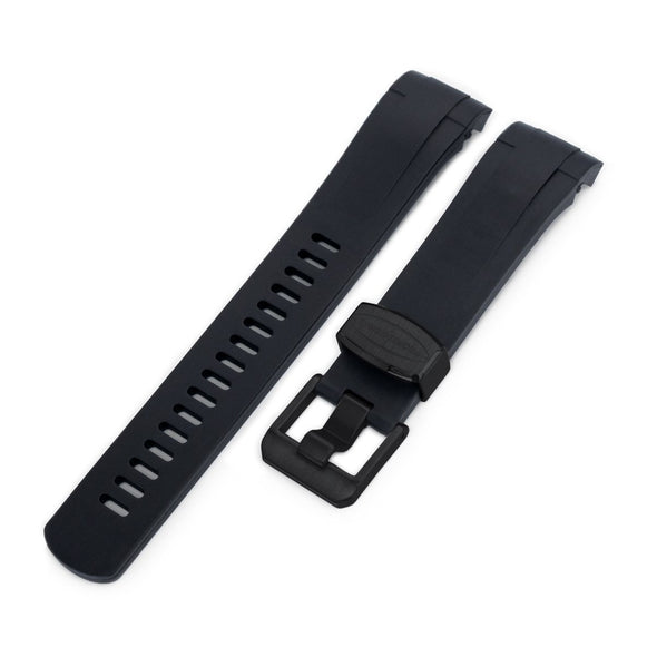 22mm Crafter Blue - Black Rubber Curved Lug Watch Strap for TU BB M79230, PVD Black Buckle