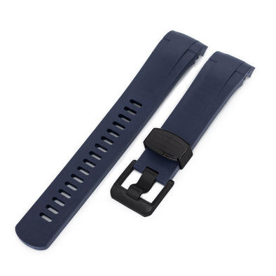 22mm Crafter Blue - Dark Blue Rubber Curved Lug Watch Strap for TU BB M79230, PVD Black Buckle