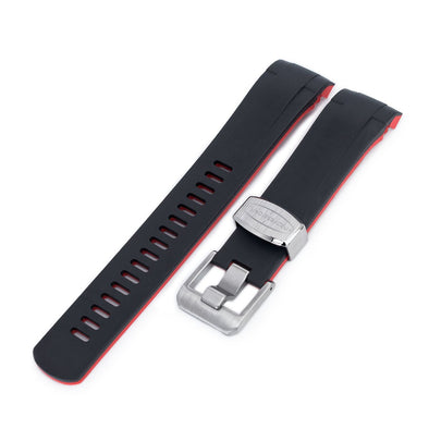 TUD BB M79230 Curved End Lug Black Rubber Watch Band | Crafter Blue