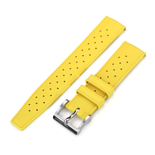 Quick Release Yellow Tropic Pro FKM rubber watch strap, 20mm or 22mm Strapcode Watch Bands