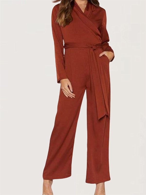 Daily Basic V-neck Long Sleeve Evening Casual Long Jumpsuit