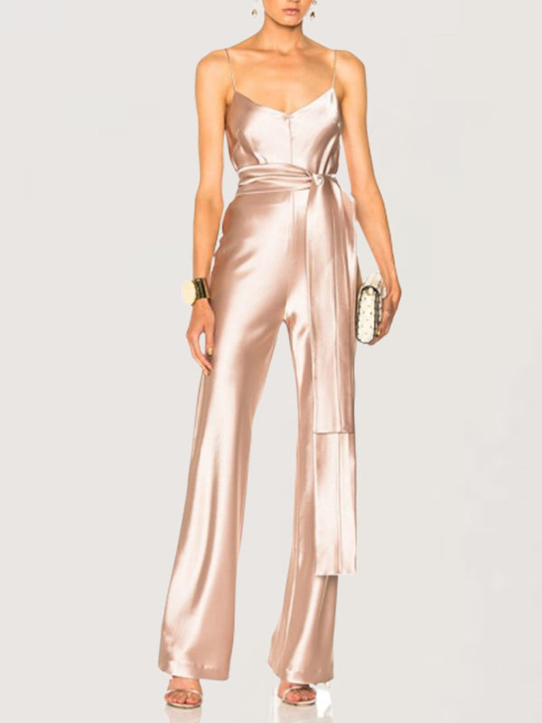 Sexy Evening Party Sleeveless Gold Long Jumpsuit