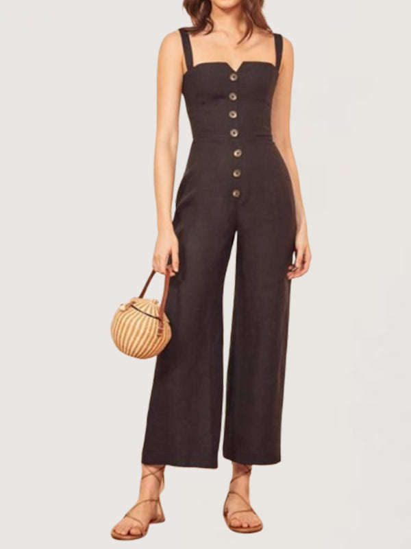 Casual Basic Daily Sleeveless Long Jumpsuit