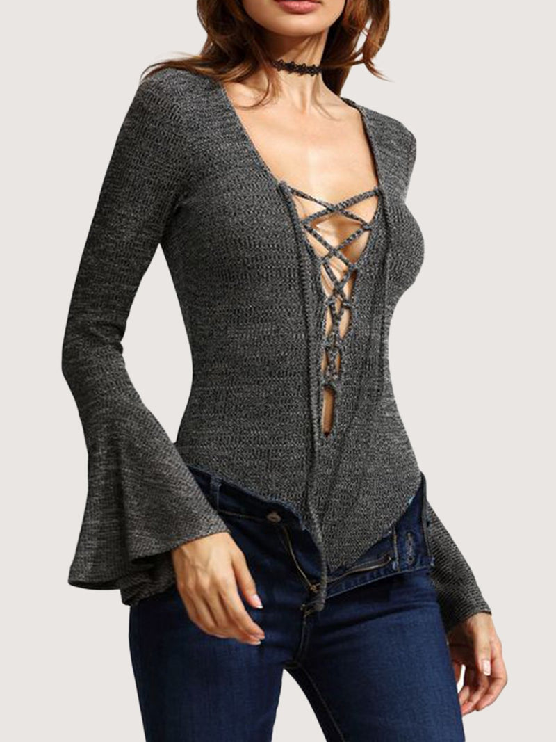 Gray Long Sleeve Sheath One-Pieces