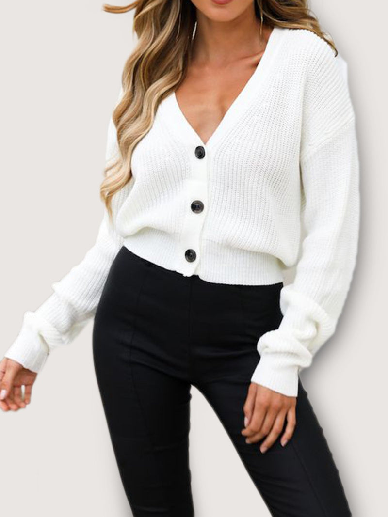 White V Neck Shift Casual Knitted Sweater
