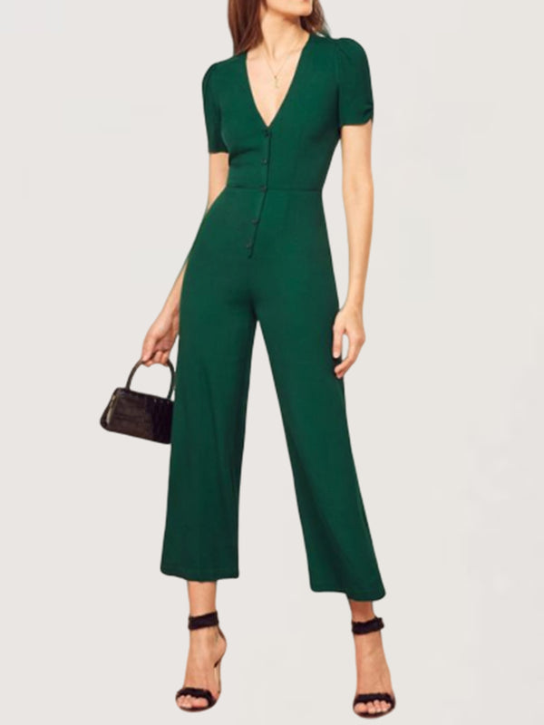 Casual Basic Daily V-neck Short Sleeve Jumpsuit