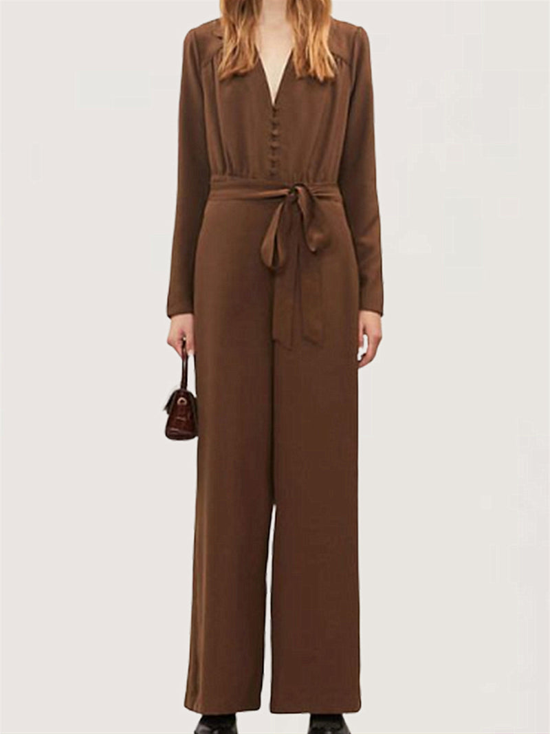 Casual Basic Daily V-neck Long Sleeve Jumpsuit