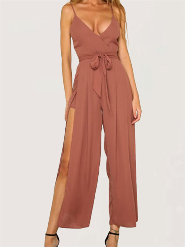 Sexy Evening Party Sleeveless Wide Leg Long Jumpsuit