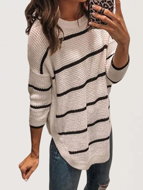 Autumn Casual Daily Basic Knitted Large Size Long Sweater