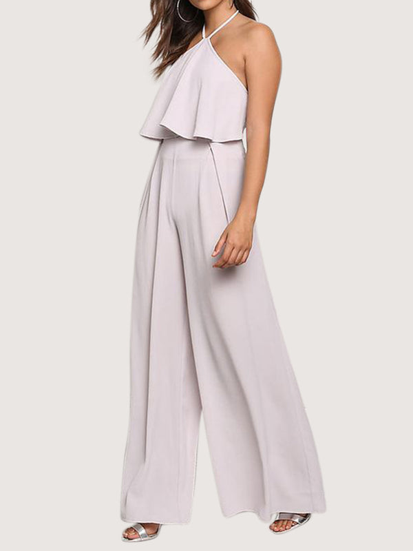White Halter Sleeveless Shift One-Pieces