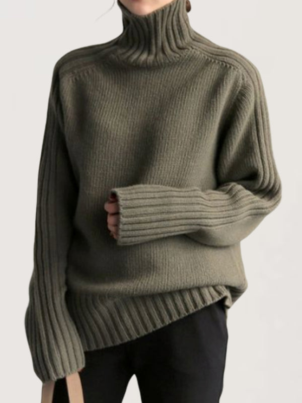 Autumn Winter Casual Basic Daily Turtleneck Knitted Sweater