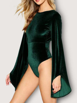 Green Sheath Long Sleeve One-Pieces