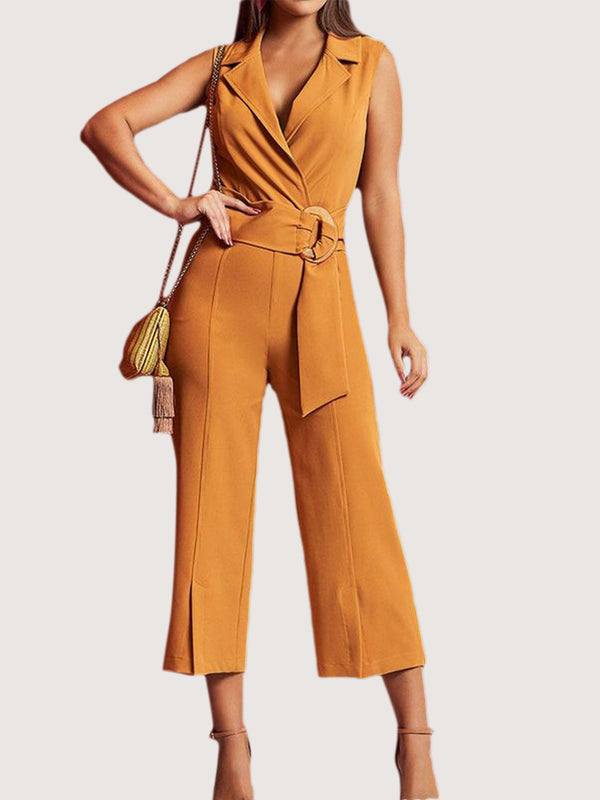 Yellow Lapel Sleeveless Casual One-Pieces