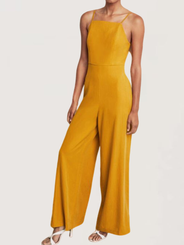 Sexy Evening Party Sleeveless Yellow Long Jumpsuit